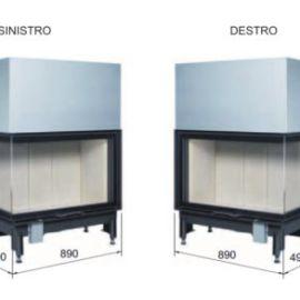 caminetto a legna interno casa Monoblocco Angolo Scomparsa 89x49S Austroflamm in vendita a Rimini