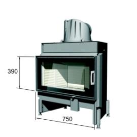 caminetto a legna interno casa Monoblocco Monofacciale Battente 75x39K Austroflamm in vendita a Rimin