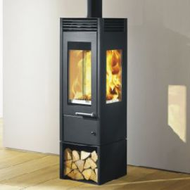 Stufa a legna interno casa Glass Austroflamm in vendita a Rimini